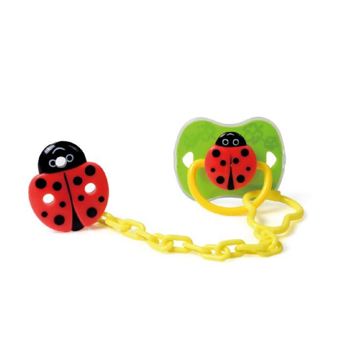 Ladybug Pacifier & Holder Set