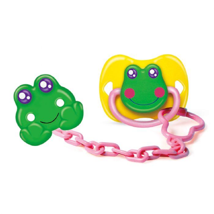 Frog Pacifier & Holder Set