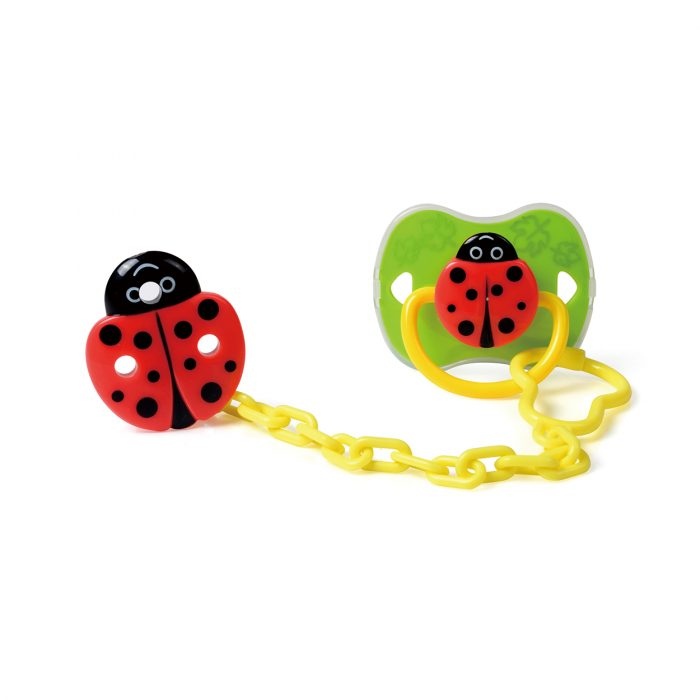 Ladybug Pacifier & Holder Set with Cover