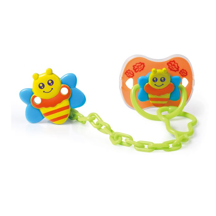 Bee Pacifier & Holder Set with Cover