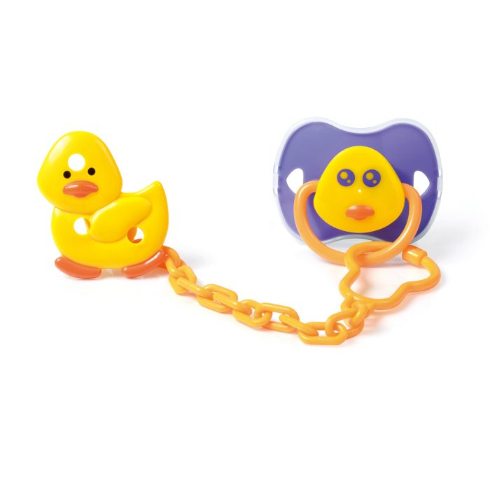 Duck Pacifier & Holder Set with Cover