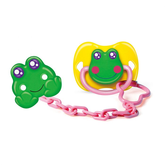 Frog Pacifier & Holder Set with Cover