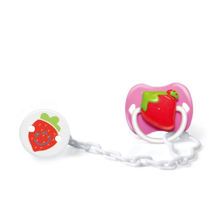 Strawberry Pacifier & Holder Set