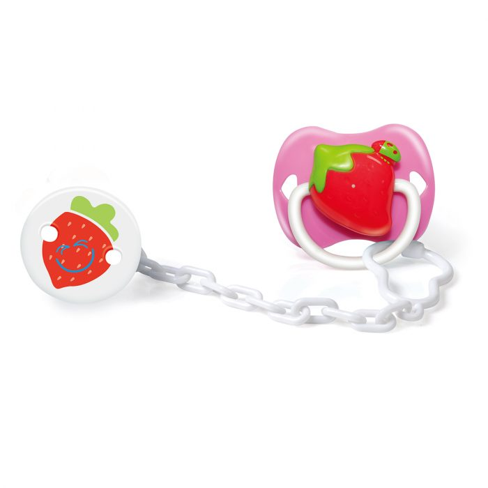 Strawberry Pacifier Orthodontic & Holder Set with Cover
