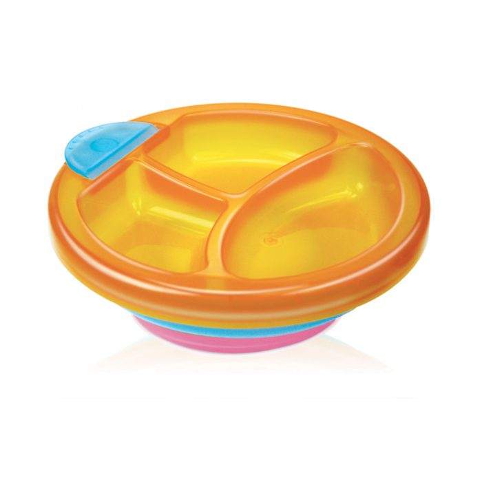 Saty Warm Plate with Fork/Spoon Set(3 Compartment)(Semi-clear colors)