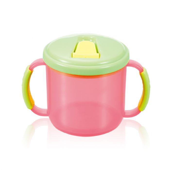 Soft Grip Handle Training Cup with Non-slip bottom(semi-clear colors)